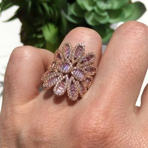 Jewelry - 14k rose gold pink diamond ring 4 CT baguette